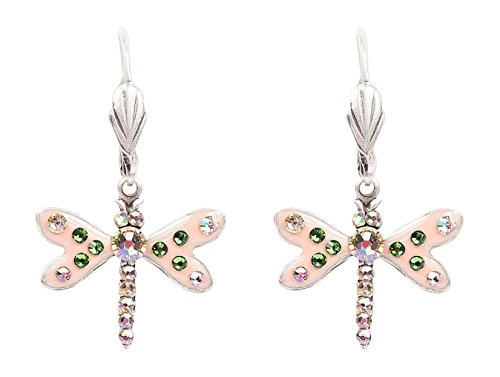 Anne Koplik Swarovski Crystal & Enamel Dragonfly Earrings 7870 ()