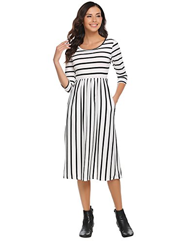 White Dresses Three - Halife Women 3/4 Sleeve Striped Wear to Work Business Cocktail Midi Dress White,XXL