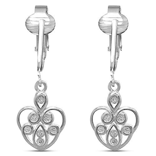Dazzling CZ Clip On Earrings for Women- Cubic Zirconia Crystal Clip Earrings Sparkle Nonpiercing Earrings (Silver Sparkle Hearts) ()