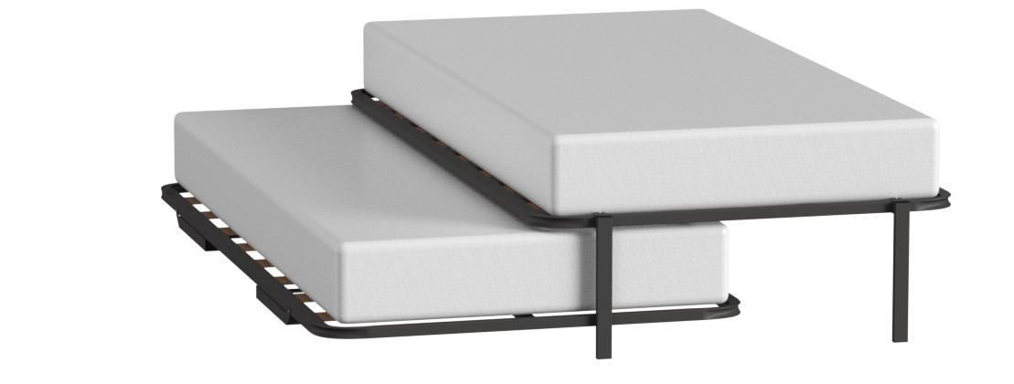 Hogar 24 Cama Nido con 2 somieres Estructura Reforzada Doble Barra Superior + Patas, Acero, 105x200 cm