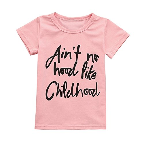 (2T-6T,Yamally Toddler Baby Girl Clothes Pink Letter T-Shirt Summer Tee Tops Blouse (3T,)