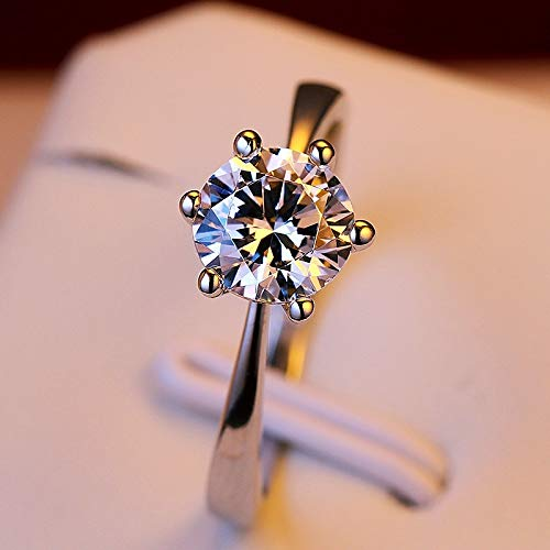 maket 2 Ct Round Cut Diamond 925 Sterling Silver Solitaire Engagement Ring for Women(8mm,6) ()