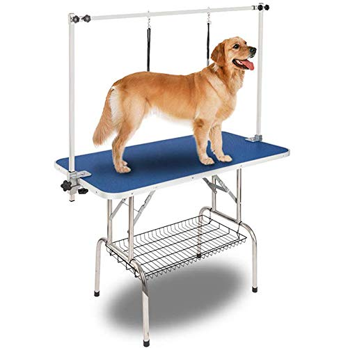 Bonnlo Pet Grooming Table, Portable Dogs Trimming Table w/Arm/Noose/Mesh Tray for Dog Cat, Maximum Capacity Up to 330 Lb…