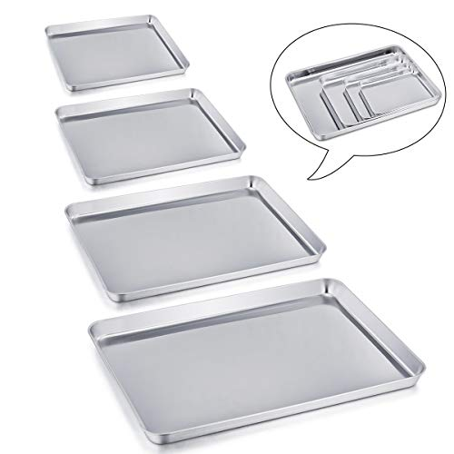 Baking Sheets Set of 4, P&P CHEF Baking Trays Pans Cookie Sheets Stainless Steel, Various Size Large to Small, Healthy & Non Toxic, Easy Clean & Dishwasher Safe