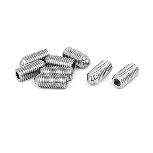 uxcell M12x25mm 304 Stainless Steel Spring Hex Socket Ball Point Grub Set Screws 8pcs