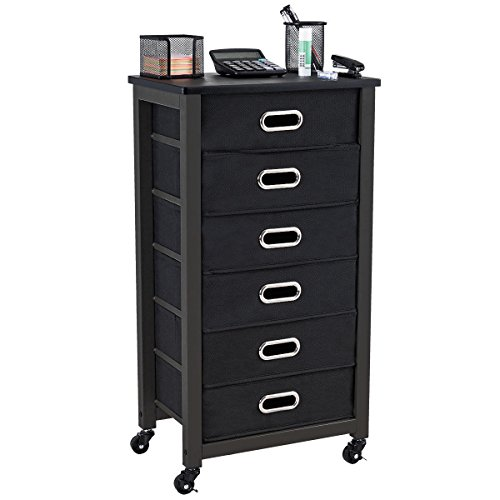 GHP 17''x11''x31.5'' Black 6-Drawer Rolling Mobile Office File Cabinet with 4 Casters by Globe House Products