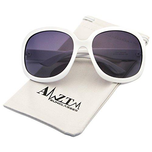 AMZTM Classic Oversized Polarized Women Sunglasses All-match Large Frame Eyewear (White, 66)
