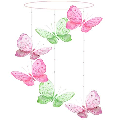 Butterfly Mobile Dark Pink Fuchsia Green Pink Shimmer Spiral Nylon Mesh Butterflies Mobiles Decorations Decorate Baby Nursery Bedroom Girls Room Ceiling Decor Party Baby Shower Crib Hanging 3D Art ()