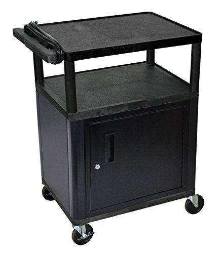 (LUXOR LP34CE-B Endura 3-Shelf Presentation Cart with Cabinet, Endura 35 1/4