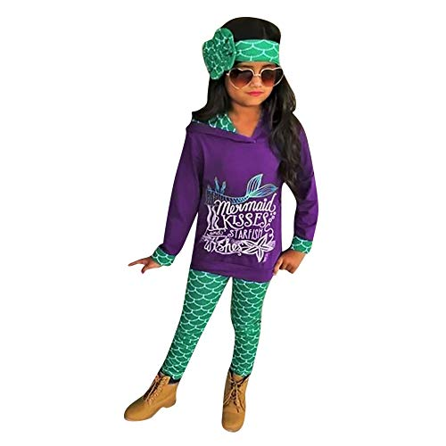 Forthery Clearance Girls Mermaid Hoodie Sweatshirt Tops+Pants Leggings+Headband Outfits Set(Purple, 24 Months) for $<!--$3.29-->