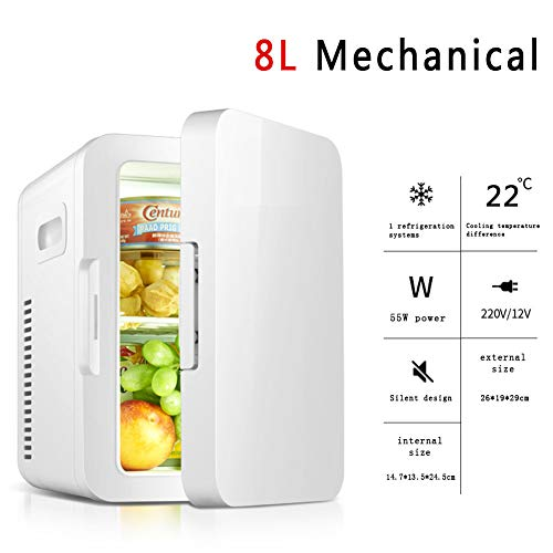 (NSAIH 8L Car Refrigerator,Mini Fridge/Rapid Cooling,Portable Electric Cooler,Mute Hot and Cold Dual use,for Offices and Dorms 220V AC/12V DC)