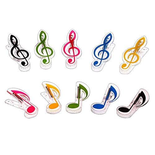 Simple and Practical Music Stand Sheet Book Page Clip Holder Piano Music Score Clip 10 Pcs (Clef + Note)