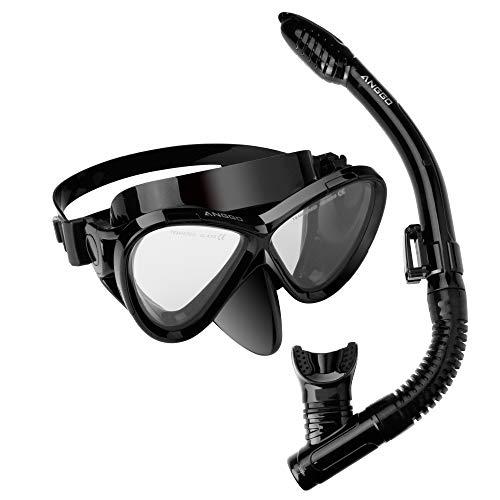 ANGGO Snorkel Set Adults Recreation Anti-Fog Film Diving Mask Snorkel Set, Tempered Glass Diving Mask and Dry Top Snorkel for Swimming and Diving