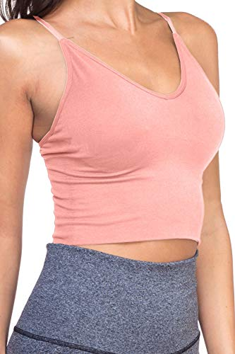 TL Women's Active Seamless Crop Cami Bras - Yoga Athletic Workout Sports Bra LIGHTPINK Large to XLarge ()