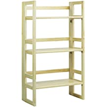 """Casual Home 3-Shelf Folding Student Bookcase (20.75"""" Wide)-Natural"""