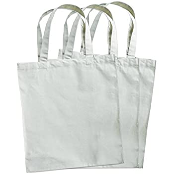 "3 Pack Natural Cotton Canvas Compostable Grocery Totes, 12.5""x 13.5""x 6"""