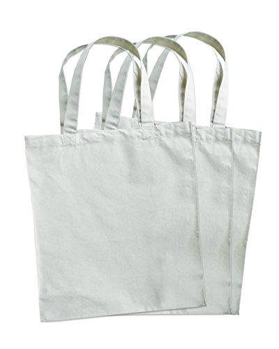 3 Pack Natural Cotton Canvas Compostable Grocery Totes, 12.5