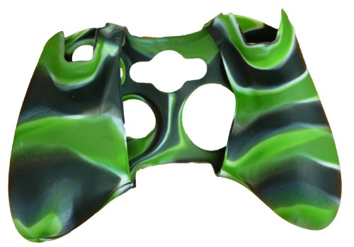 New Silicone Cover Case Skin for Xbox 360 Controller Camo Black with Green