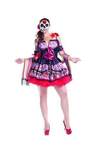 Party King Women's Plus Size Day Of The Dead 3 Piece Costume Set with Mask, Multi, XXX-Large -
