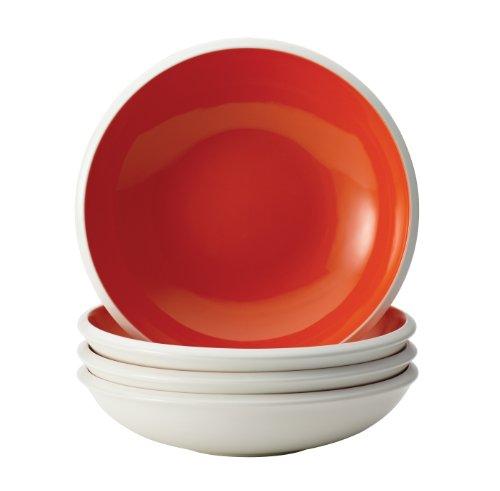 Rachael Ray Dinnerware Rise 4-Piece Stoneware Soup and Pasta Bowl Set, Orange (Microwave Rachael Ray)