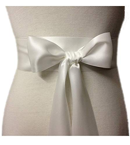 Wedding Sash Bridal Belts Simple Classic Silk Ribbon Sash for Dress (Ivory)