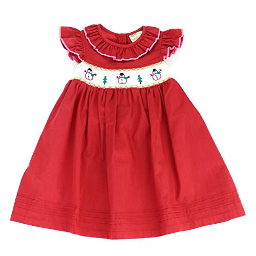 sissymini - Christmas Hand Smocked Angel Sleigh Dress (Red Snowman, 4T)