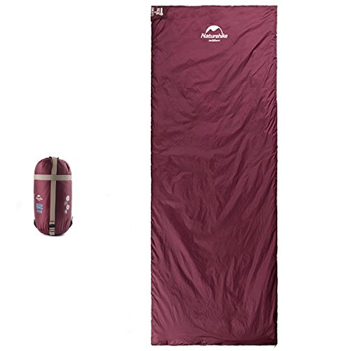Naturehike Sleeping Bag – Envelope Lightweight Portable, Waterproof, Comfort with Compression Sack - Great for 3 Season Traveling, Camping, Hiking, Outdoor Activities (Burgundy 2)