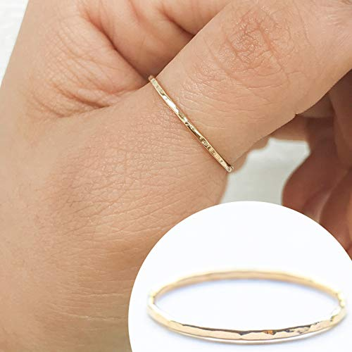 (Individual Stacking Ring 14k Gold Filled, Dainty Little Plain Band, Size 8)
