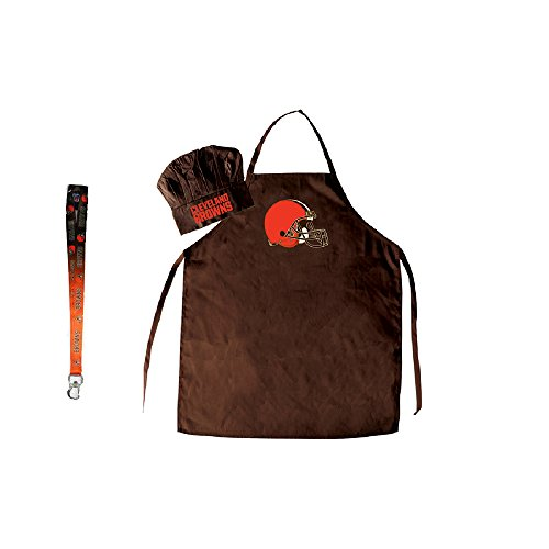 Pro Specialties Group Cleveland Browns NFL Barbeque Apron and Chef's Hat with Bottle Opener