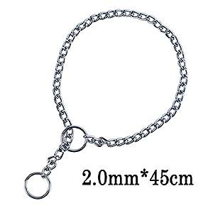 Giveme5 Ajustable Titan Heavy Metal P Chock Snake Chain Training Dog Pet Choke Collar (45cmx2.0mm)
