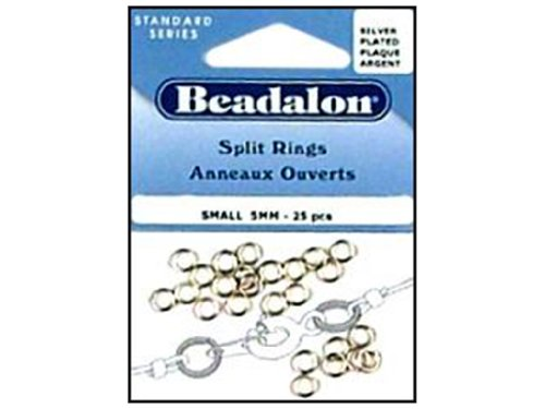 (Beadalon Split Ring 5mm Small Silver Plated 25 Piece (Pack of 3))