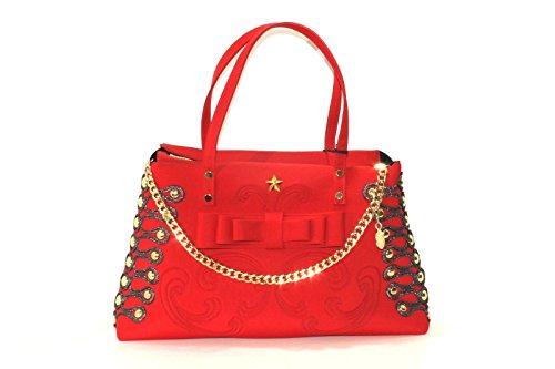 Borsa la fille des fleurs rossa con borchie laterali e catena pendente NEW COLLECTION AI 20178 (K)