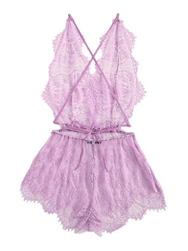 Backless Teddie - MAKEMECHIC Women's Lace Teddy Lingerie Deep V Backless Sleeveless Romper Sleepwear Purple Large