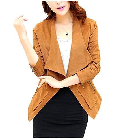 Tootless Women's Open Front Zip Up Faux Suede Blazer Short Suit Coat yellowish brown L - Faux Suede Blazer