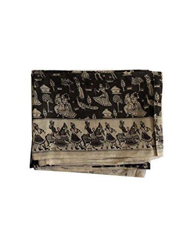 Elegant black and cream color designer Kalamkari silk Saree