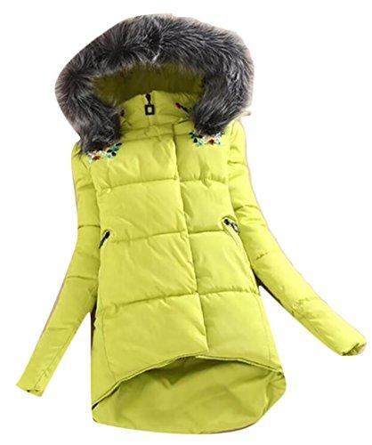Jacket Hooded Slim Yellow Coats amp;W M Womens Parka irregular amp;S Fur Collar Outwear wCwqF06B