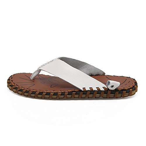 Genuine Leather Outdoor Soft Beach Flip Non Slip Men's Flops Flat and CNBEAU Shoes White Slippers Thong Sandals Casual Indoor w7ZHFIq7X