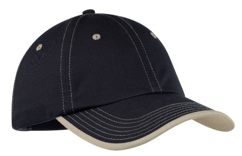 Port Authority Twill Cap - Port Authority Men's Vintage Washed Contrast Stitch Cap OSFA Navy/Light Sand