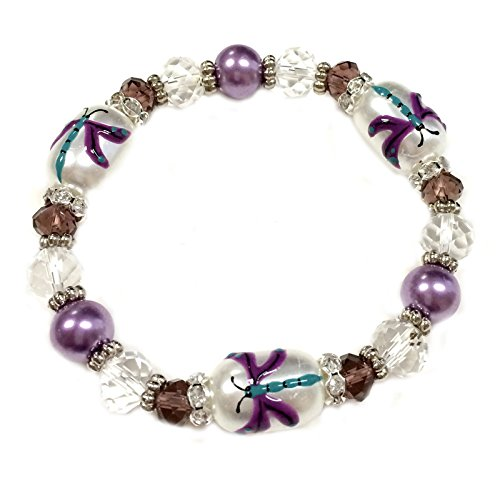 Beads Glass Dragonfly (Linpeng BR-2420K Fiona Hand Painted Dragonfly Glass Beads Bracelet)