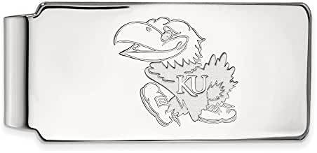 14k White Gold LogoArt Official Licensed Collegiate University of Kansas (KU) Money Clip