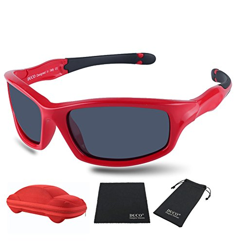 Duco Kids Sports Style Polarized Sunglasses Flexible Frame For Boys And Girls K006 (Red Frame Black Temple Grey Lens, 55) by DUCO