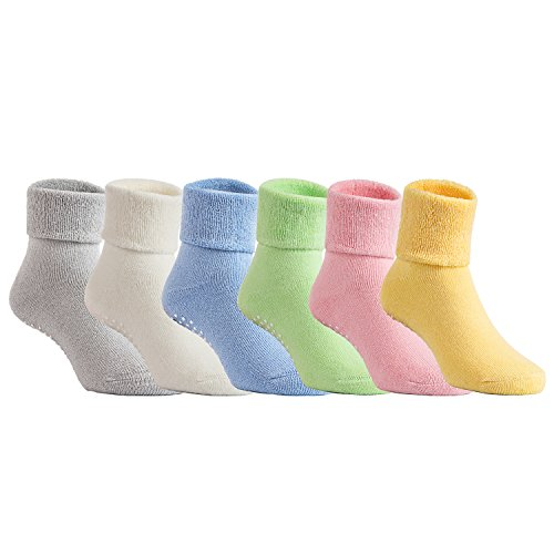 Lovely Annie Unisex Children 6 Pairs Pack Non-Skid Non Slip Combed Cotton Socks 1Y-3Y 6 Colors