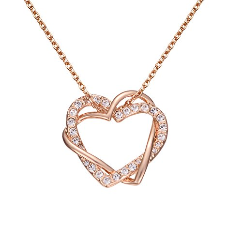 Yoursfs Cubic Zirconia Pendant Necklaces for Women 18k Yellow Gold Plated Double Heart Necklace