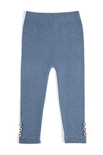 (EMEM Apparel Unisex Boys Girls Baby Toddler Medium Weight Seamless Cotton Full Ankle Length Leggings with Buttons Heather Blue (Denim) 18-24 Months)