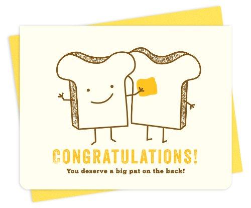 Night Owl Paper Goods Pat of Butter Letterpress Congratulations Card