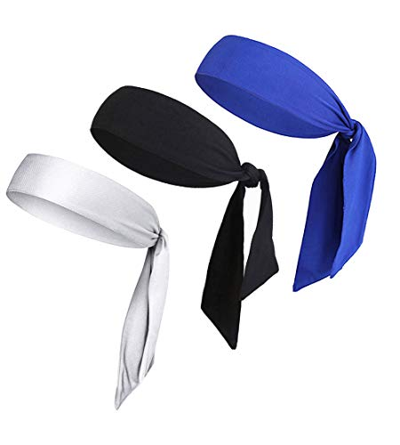 LIMOSUNO Headbands for Men Women Girls Boys, Dry Fit Head Tie Headband Sports, Pirate Bandana Accessories Performance Elastic & Moisture Wicking & Non Slip (3pcs Black&White&Blue) ()