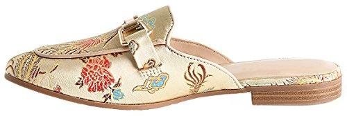 LUSTHAVE Frauen Gold Plated Slide On Slip auf Mule Loafer Wohnungen Schuhe Beige Feder