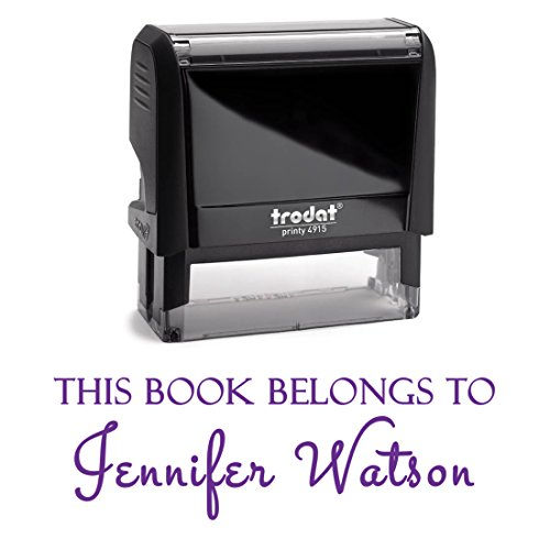 Purple Ink, Customized Self Inking Stamp. This Book Belongs To, Ex Libris, From The Library of... Fill In Your Own Custom Information Into 2 Lines With Unique Font – Personalized (Square Self Inking)