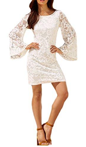 Damen Kleider Cocktailkleid Ballkleid 2017 Die Neue Langärmlig Spitzenkleider Mit Spitze Aushoshlen Rückenfrei Durchsichtig Uni-Farben