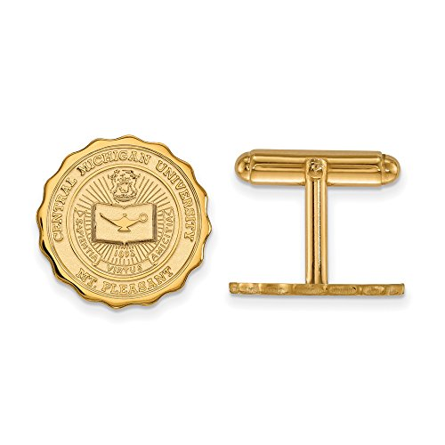 Central Michigan Crest Cuff Links (14k Yellow Gold) by LogoArt